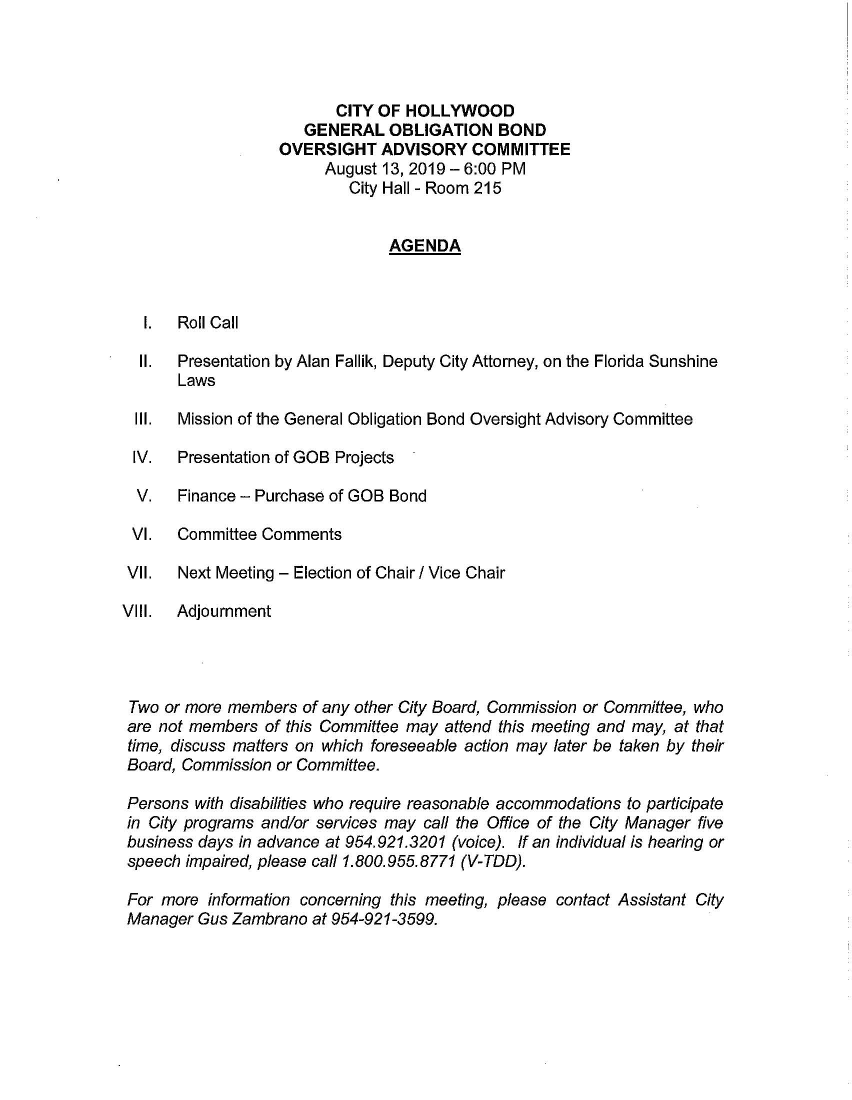 August 13, 2019 General Obligation Bond Oversight Advisory Committee Meeting Agenda