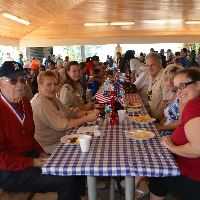 Veterans and friends and picnic table