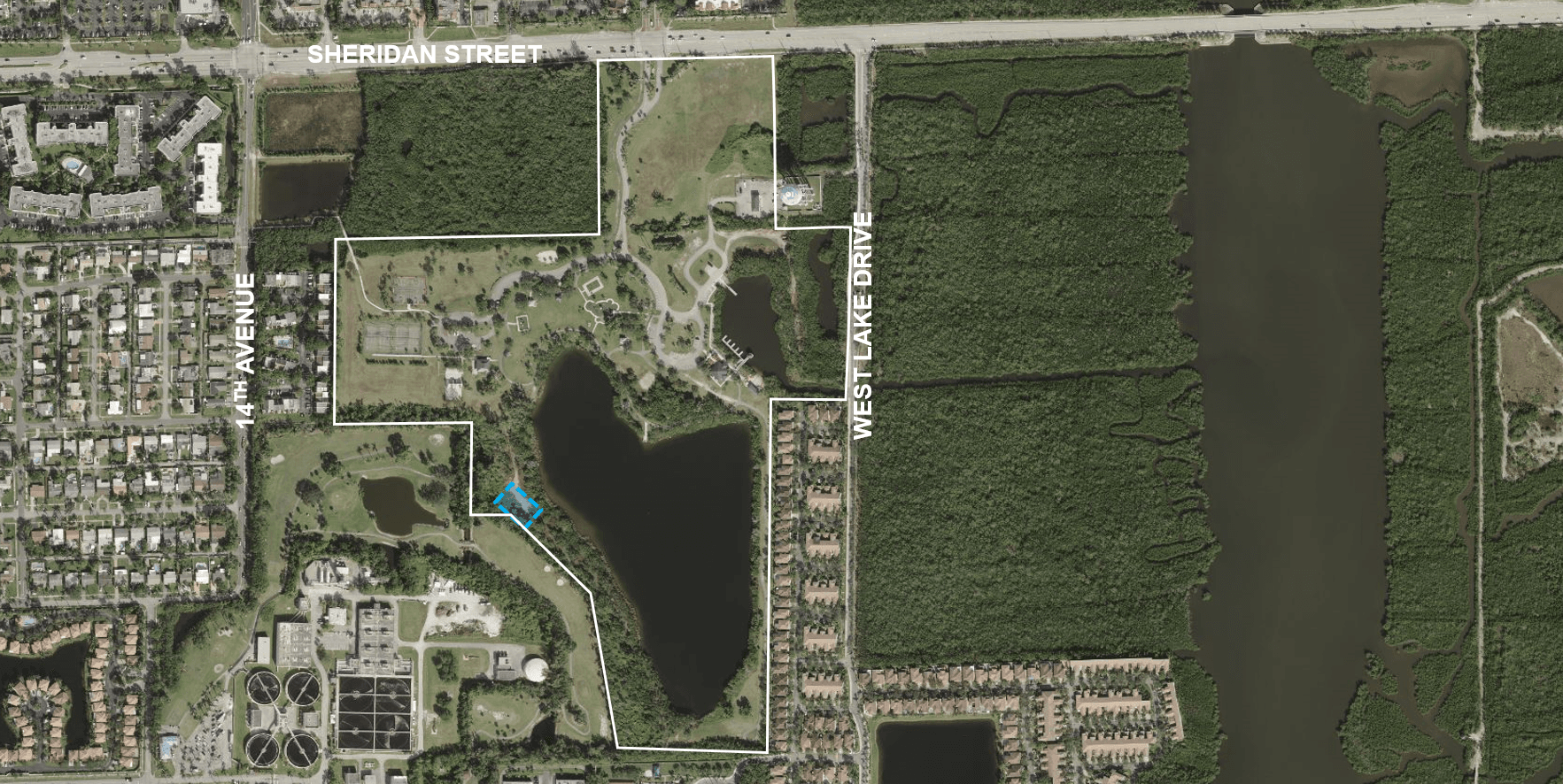 Ariel view of West Lake Park with proposed communication tower location highlighted in blue