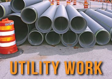 Utility pipes piled up for Utility Work