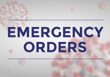 Emergency Orders over COVID Spores background